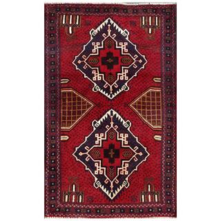 Afghan Hand-knotted Tribal Balouchi Red/ Navy Wool Rug (2'10 x 4'6)