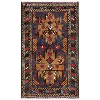 Afghan Hand-knotted Tribal Balouchi Navy/ Brown Wool Rug (2'7 x 4'5)