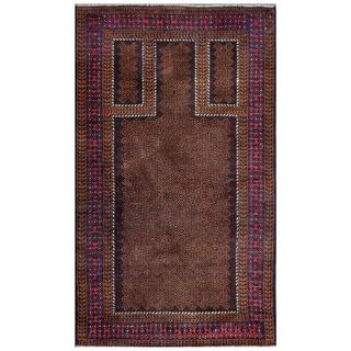 Afghan Hand-knotted Tribal Balouchi Brown/ Burgundy Wool Rug (2'6 x 4'7)
