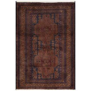 Herat Oriental Afghan Hand-knotted Tribal Balouchi Blue/ Gold Wool Area Rug (3' x 4'6)