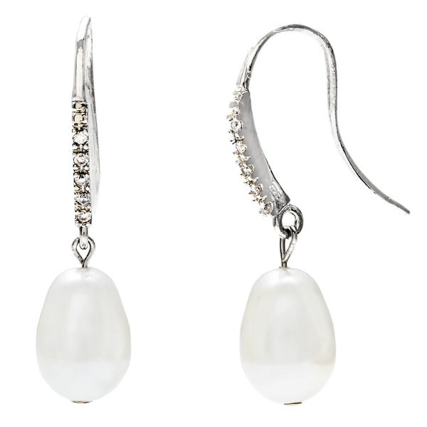 White Pear Swarovski Faux Pearl Earrings