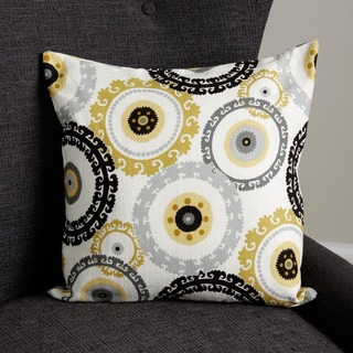 Ornate Circle-in-circle 18-inch Square Pillow