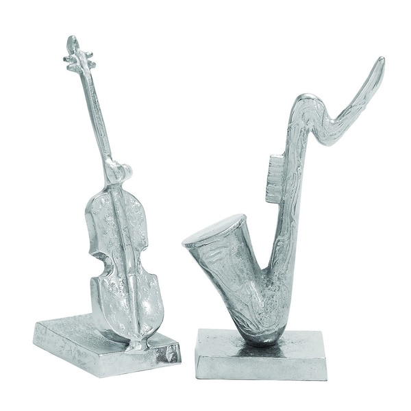 Aluminum Sculpted Instrument Sculpture (Set of 2)