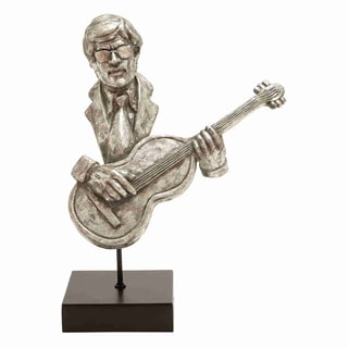 Musician Statue with Guitar And Silver Finish