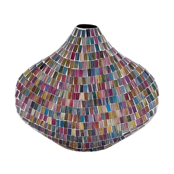 Myriad Colored Glass Mosaic Vase