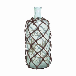 Petite Strap-net Wrapped Decorative Glass Bottle