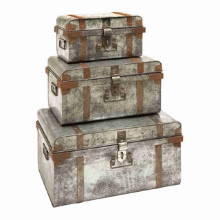 Galvanized Metal Old World Trunks (Set of 3)