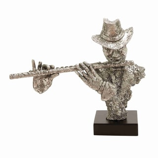 Oxidzed Silver Musician and Flute Figurine