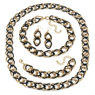 PalmBeach Double Curb-Link Three-Piece Set in Yellow Gold Tone and Black Rhodium-Plated Bold Fashion