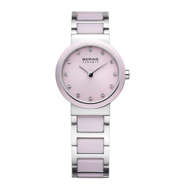 Bering Time Women's Pink/Silver-Tone Ceramic Watch