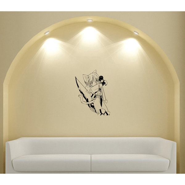 Japanese Manga Girl Ears Bow Arrows Vinyl Wall Sticker