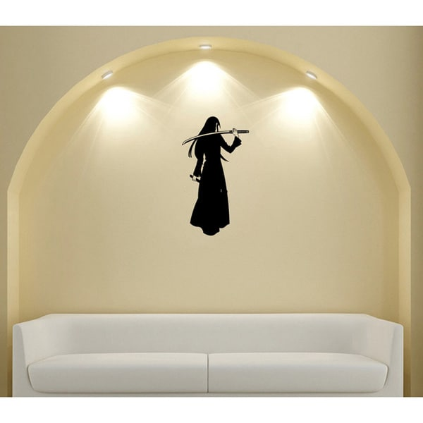 Japanese Manga Girl Black Cloak Saber Vinyl Wall Sticker
