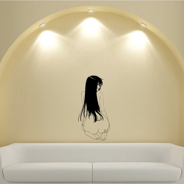 Japanese Manga Girl Striptease Vinyl Wall Sticker