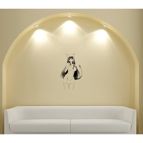 Japanese Manga Girl In a Short Skirt Ears Vinyl Wall Sticker