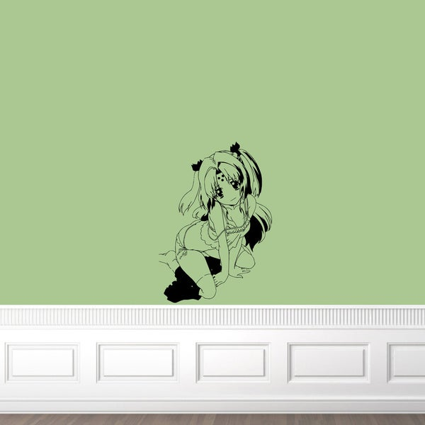 Japanese Manga Little Girl Swimsuit Vinyl Wall Sticker