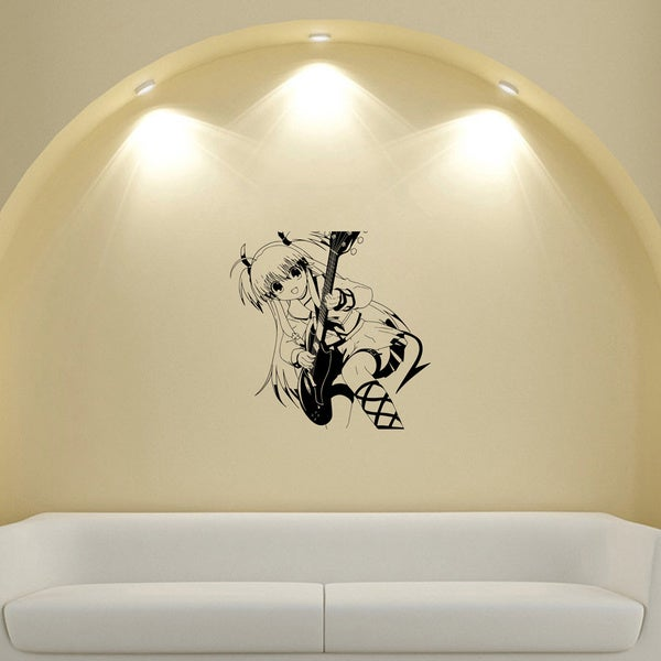 Japanese Manga Girl Stockings Guitar Music Vinyl Wall Sticker