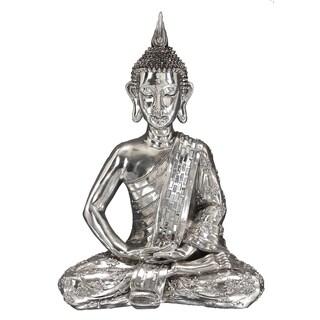 Silvertone Polystone Sitting Buddha Statue