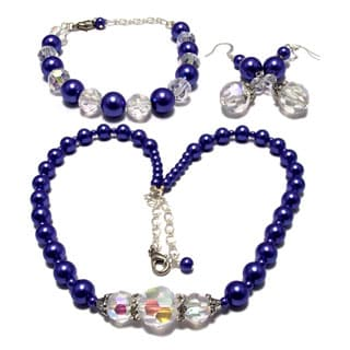 24-inch Indigo Blue Faux Pearl Wedding Jewelry Set