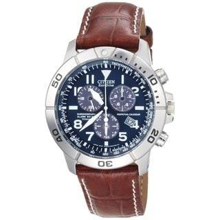 Citizen Men's 'Eco-Drive' Leather Titanium Watch