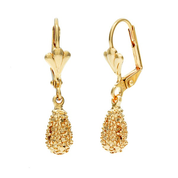 Layered 18k Gold Serrated Teardrop Earrings