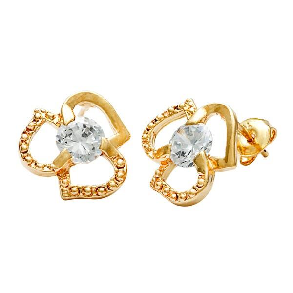 Layered 18k Gold Tri-heart Stud Earrings