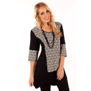 Women's Jacquard Print Spliced Top