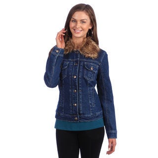 Live A Little Women's Faux Fur Collar Denim Jacket