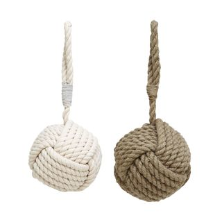 Assorted Beige and Pearl White Rope Doorstops (Set of 2)