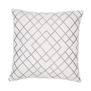 Handmade Embroidered Geometric Cotton 20x20-inch Pillow