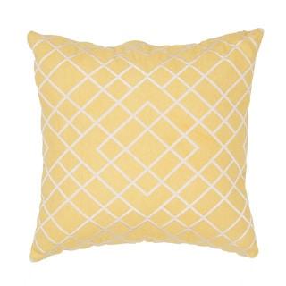 Handmade Yellow Cotton 20x20-inch Pillow