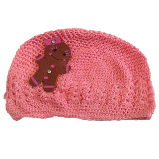 Mini e Boutique Girl's Leather Gingerbread Crocheted Hat