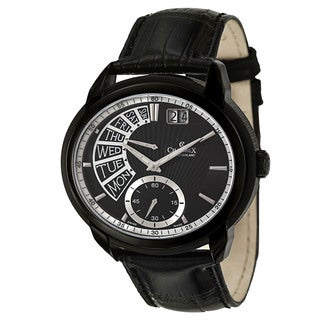 Charmex Men's 'Portofino' Black Stainless Steel Retrograde Watch with Day/Date Display