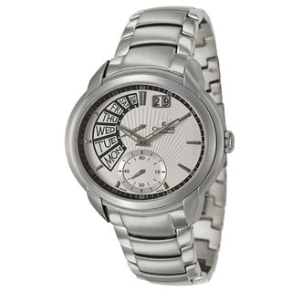 Charmex Men's 'Portofino' Silvertone Stainless Steel Retrograde Watch