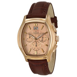 Charmex Men's 'St. Moritz' Rose Gold-plated Stainless Steel Chronograph Watch with Rose-goldtone Dial