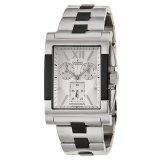 Charmex Men's 'Lausanne' Stainless Steel Black Chronograph Watch