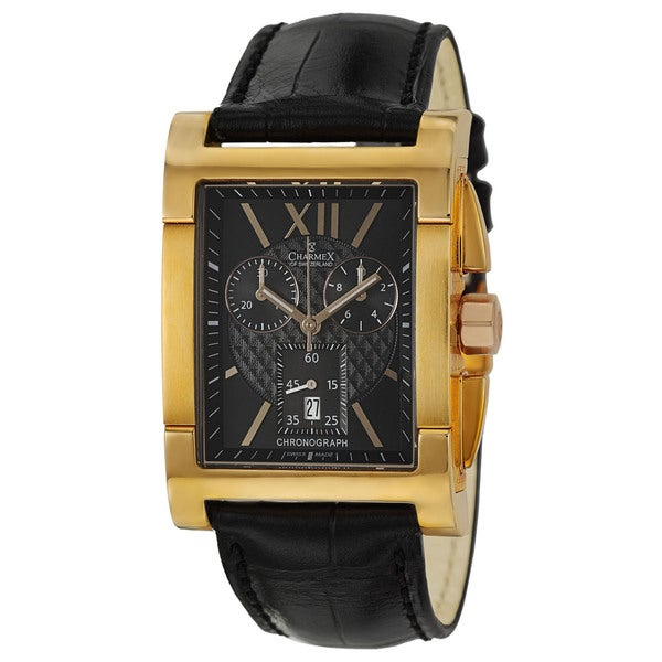 Charmex Men's 'Lausanne' Gold-Plated Stainless Steel Chronograph Watch