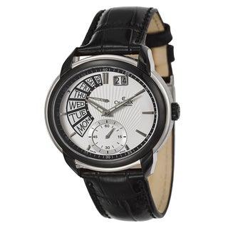 Charmex Men's 'Portofino' Black Stainless Steel Retrograde Watch