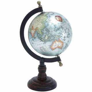 Metal Globe and Wooden Axis Accent Piece