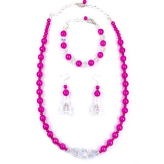 24-inch Fuchsia Faux Pearl Wedding Jewelry Set