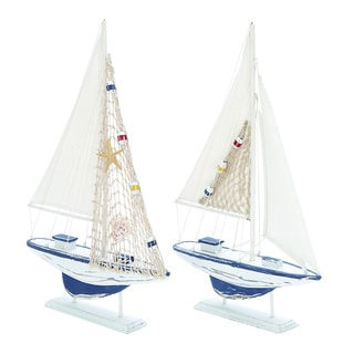 Decorative Wooden Sailing Boat Set (Set of 2)