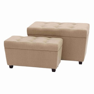 Rectangular Tufted Burlap Ottoman Set (Set of 2)