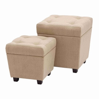 Cream Burlap Storage Stool Set (Set of 2)