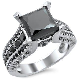 14k White Gold 3ct TDW Certified Princess Cut Black Diamond Ring