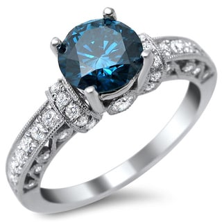 14k White Gold 1.35 TDW Round Blue Diamond Ring (VS1-VS2)