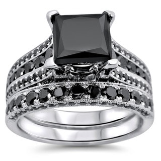18k White Gold 3.8ct TDW Princess Cut Black Diamond Ring Set
