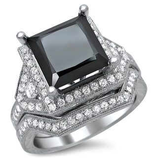 14k White Gold 4ct TDW Certified Black Diamond Princess Cut Bridal Set (F-G, VS1-VS2)