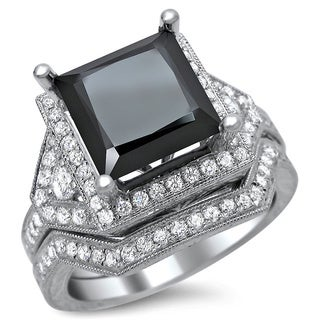 14k White Gold 4ct TDW Black Diamond Princess Cut Bridal Set (F-G, VS1-VS2)