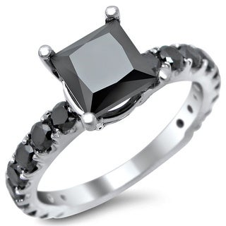 14k White Gold 2.5ct TDW Certified Black Diamond Princess Cut Engagement Ring