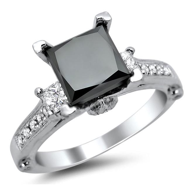 18k White Gold 2.5ct TDW Certified Princess Cut Black and White Diamond Ring (E-F, VS1-VS2)