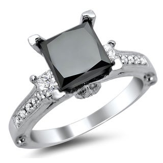 18k White Gold 2.5ct TDW Certified Princess Cut Black and White Diamond Ring (E-F, VS1-VS2)